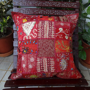 Patchwork Cushion Cover, Set of 5 handmade , Red Color sofa cushion covers, 40 x 40 Cms Size, Vintage Cushion Cover, Old patches India