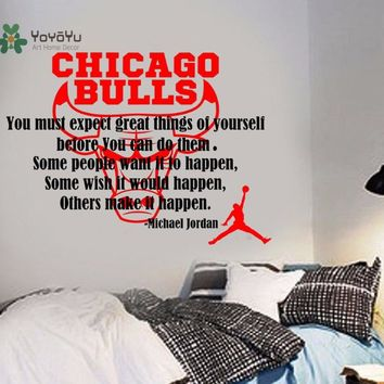 YOYOYU Decal Michael Jordan Quote Basketball Wall Sticker Sports Chicago Bulls play Basketball Boy Home Decoration Poster Y021