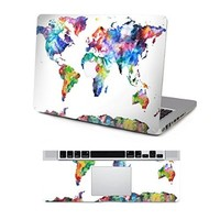 "Vati Leaves Removable Colorful World Map Protective Full decal Vinyl Art Skin Decal Sticker Scratch resistant for Apple MacBook Pro Retina 13.3"" inch"