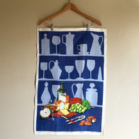 Vintage Ulster Pure Linen Fast Colours Wine and Cheese Tea Towel