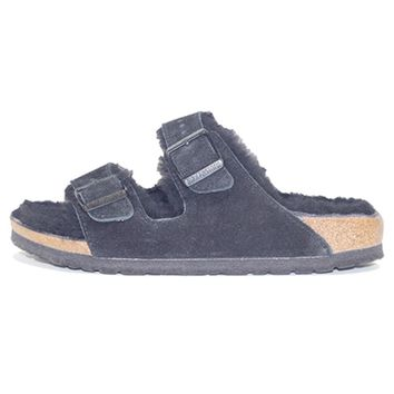 Birkenstock For Women: Arizona Fur Suede Black Sandal - Beauty Ticks