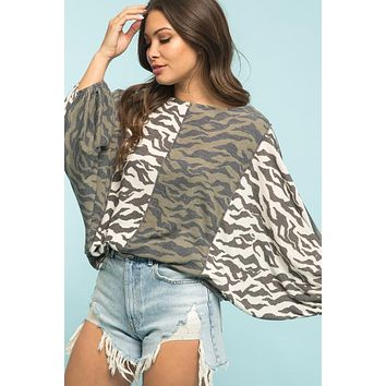 Zebra Color Block Top - Olive Mix