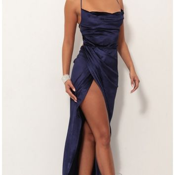 Party dresses > Velvet Luxe Maxi Dress in Royal Blue