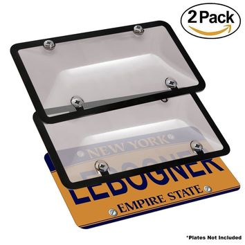 lebogner Car License Plates Shields And Frames Combo, 2 Pack Tinted Bubble Design Novelty Plate Covers To Fit Any Standard US Plates, Unbreakable Frame & Covers To Protect Plates, Screws Included