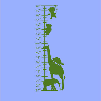Safari Stacked Animals Growth Chart Wall Decal