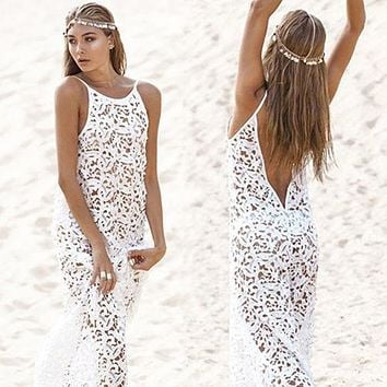 Women Summer Maxi Dress 2017 Female Backless Bohemian Hippie Long White Beach Dress hollow out Lace Gown Rend Worldshine Frock