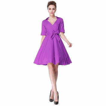 Heroecol Women V Neck Short Sleeve Vintage 50s 60s Swing Style Dresses Rockabilly 1950s 50's Party Purple Dress