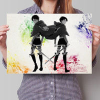 Levi Eren Attack on Titan Eren Anime Manga Watercolor Poster Print Art Wall Decor Gift  no295