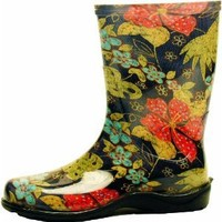 """Sloggers Women's  Rain and Garden Boot with """"All-Day-Comfort"""" Insole, Midsummer Black Print - Wo's size 8 - Style 5002BK08"""