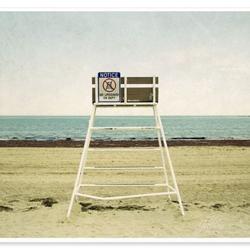 Beach Photography - 8x10 print - landscape photograph, nautical seaside ocean photo surf, lifeguard chair, abstract layers, geometric