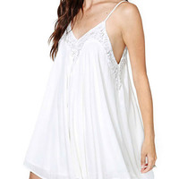 White Back-to-Back V-Cut with Lace Accent Mini Dress