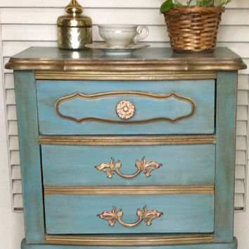 Blue Nightstand French Provincial 1950s