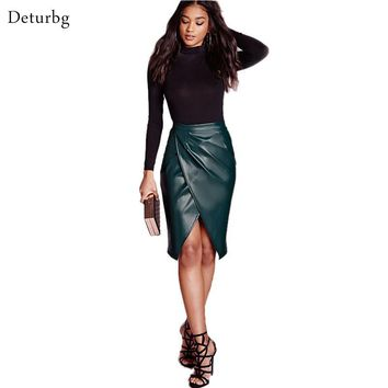 Women's Sexy Flocking Faux Leather Splits Skirt New Fashion 2016 Spring Celebrity Casual Ladies Pencil Midi Office Skirts SK42