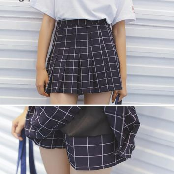 Women's Skirts Ladies Kawaii Grid High Waist Retro Pleated Skirt Female Korean Harajuku Clothing For Women Ulzzang Vintage Punk