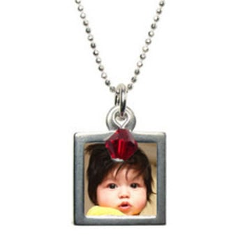 Custom Photo Necklace | Photo Jewelry |Birthstone Charm | Swarovski Crystal Birthstone Charm