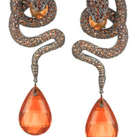 Lydia Courteille | Snake 18-karat blackened gold multi-stone earrings | NET-A-PORTER.COM