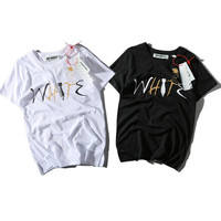 Off White Round-neck Short Sleeve Alphabet Summer T-shirts [10262481235]
