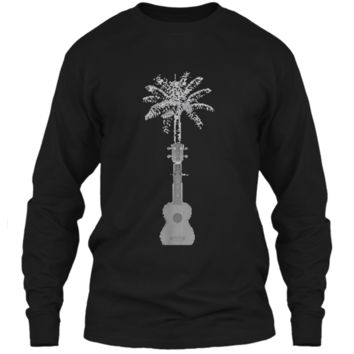 Funny Palm Tree Ukulele Shirt Beach Music Lover Cool T-shirt LS Ultra Cotton Tshirt