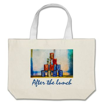 Soup Cans - After The Lunch Large Tote Bag