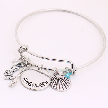 "Little Mermaid ""dinglehopper""Hand Stamped Bangles Fork,Shell,Mermaid Crystals Bracelet for Women Girls Halloween Christmas Gift"