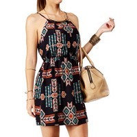 Navy Sleeveless Tribal Print Dress