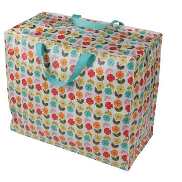 Recycled Jumbo Storage Bag Mid Century Poppy  It is made from recycled plastic bottles