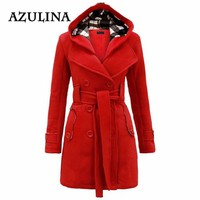 AZULINA Trendy Hooded Trench Coat