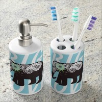 Paisley Elephant Personalized Girly Bathroom Accessories Sets: Cute Animal Toothbrush Holder and Soap Dispenser Set: Big Love