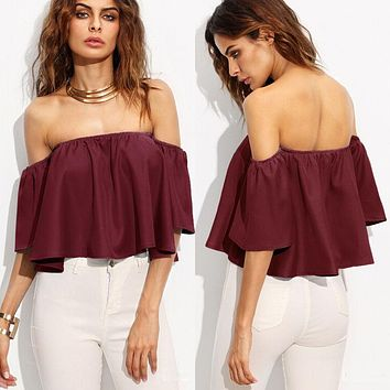 New Women Ladies Flare sleeve Tank tops Off shoulder tee shirt Crop Top Cropped Chiffon Short Tank Tops Blue White Red