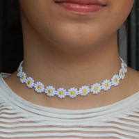 Delicate Daisy Chain Choker Necklace Summer Festival 90s 1990s White & Yellow
