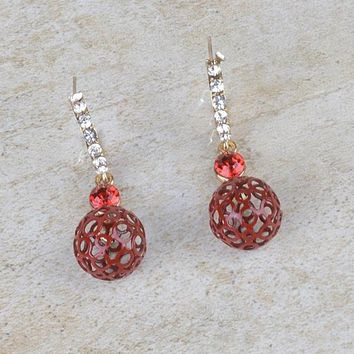 Crystal Studded Drop Earrings with Cutout Ball Design