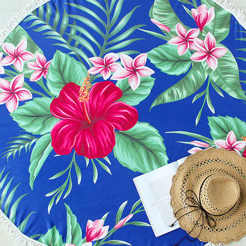 Blue Flower Print Fringe Detail Round Beach Blanket
