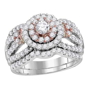 14kt White Rose 2-tone Gold Women's Round Diamond Halo Bridal Wedding Engagement Ring Band Set 1-1/2 Cttw - FREE Shipping (US/CAN)