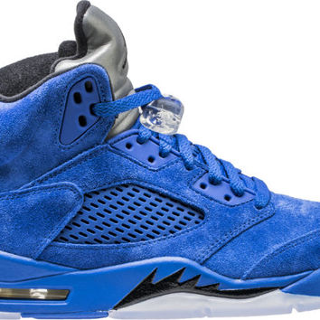 AIR JORDAN RETRO 5 BLUE SUEDE MENS LIFESTYLE SHOE (GAME ROYAL BLUE/BLACK)