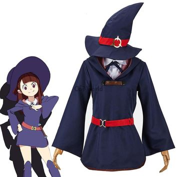 Little Witch Academia Akko Kagari Dress Uniform Outfit Anime Cosplay Costumes