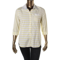 Tommy Hilfiger Womens Striped 3/4 Sleeves Button-Down Top