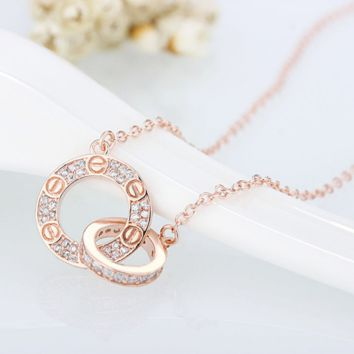 """""""Cartier""""Interlocking home 2-ring clavicle necklace jewelry set"""