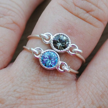 Wire Wrapped Rings Blue and Grey Stacking Set 2 by KissMeKrafty