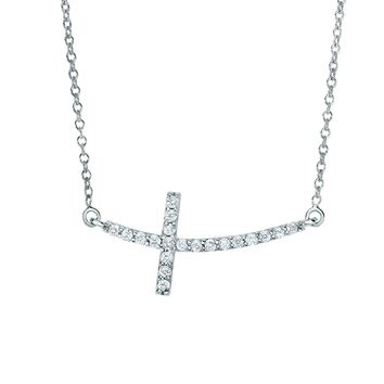 14k White Gold 0.22ct Necklace with Long Curved Side way Cross
