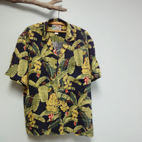 Paradise Found Hawaiian Shirt, Mens Aloha Shirt, Banana Leaf, Rayon