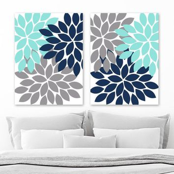 Flower Wall Art, Navy Blue Gray Aqua Flower Bedroom Wall Decor, Flower Canvas or Prints Navy Blue Gray Aqua Flower Bathroom Decor, Set of 2