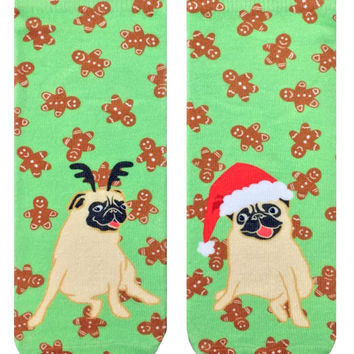 Christmas Pugs Ankle Socks