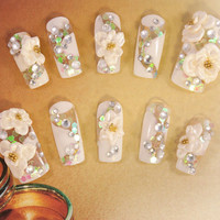 Bridal Wedding Nails - Snowy Love Wedding Nails - 3D false fake press-on nail art - Japanese Nail Art