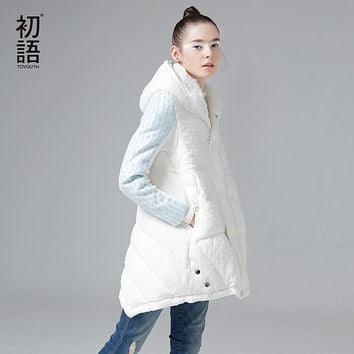 Toyouth 2017 Women Hoodies White Duck Down Coat Zipper Up Winter Mid-Length Long Sleeve Warm Outerwear