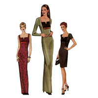 Vogue 7522 FITTED EVENING GOWN Cocktail Dress Pattern Straight Maxi Dress Size 12 14 16 Bust 34 36 38 UNCuT 1990s Women's Sewing Patterns