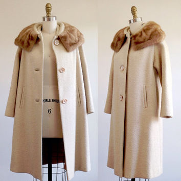 Tan fur coat- Winter coat- Boucle coat- Coat with fur- Fur collar- Womens outerwear- Long coat