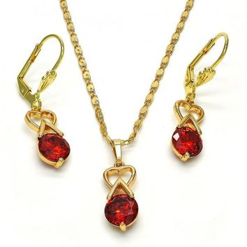 Gold Layered 10.213.0008 Necklace and Earring, Heart Design, with Garnet Cubic Zirconia, Polished Finish, Golden Tone
