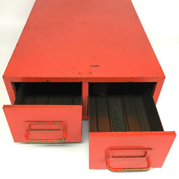 Industrial Metal Cabinet, Metal Cabinet, Industrial Drawers, Orange Steel Storage Drawers, Garage Storage, Mechanic Gifts
