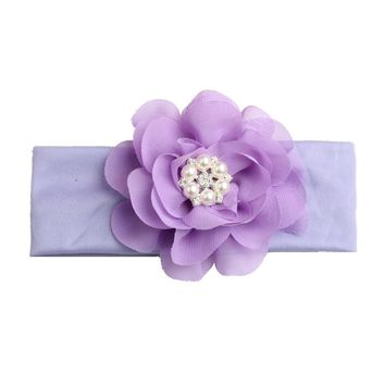 2018 New Pearls Flower Headband Kids Girls Elastic Turban Hair Band Hair Accessories Head Wrap bandanas bebe
