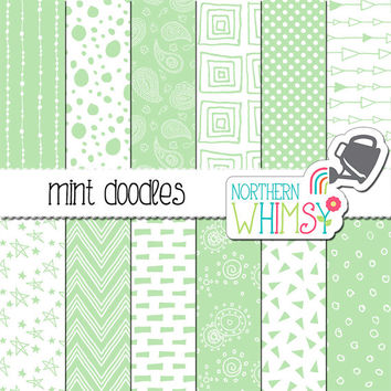 Mint Scrapbook Paper – doodle digital paper with hand drawn seamless patterns - green printable paper - instant download - commercial use CU